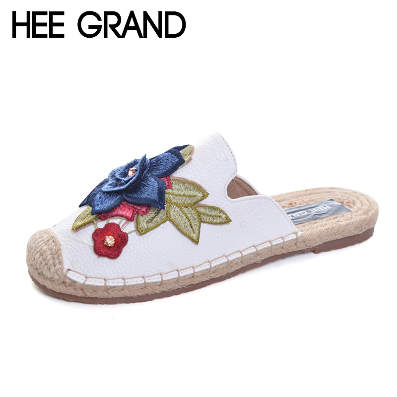 HEE GRAND Embroidery Slippers 2017 New Summer Flats Slides Casual Fisher Shoes Woman Slip On Platform Women Shoes XWT849 hee grand knot slippers 2017 summer flip flop casual women slip on platform flats shoes woman beach women shoes xwz3946