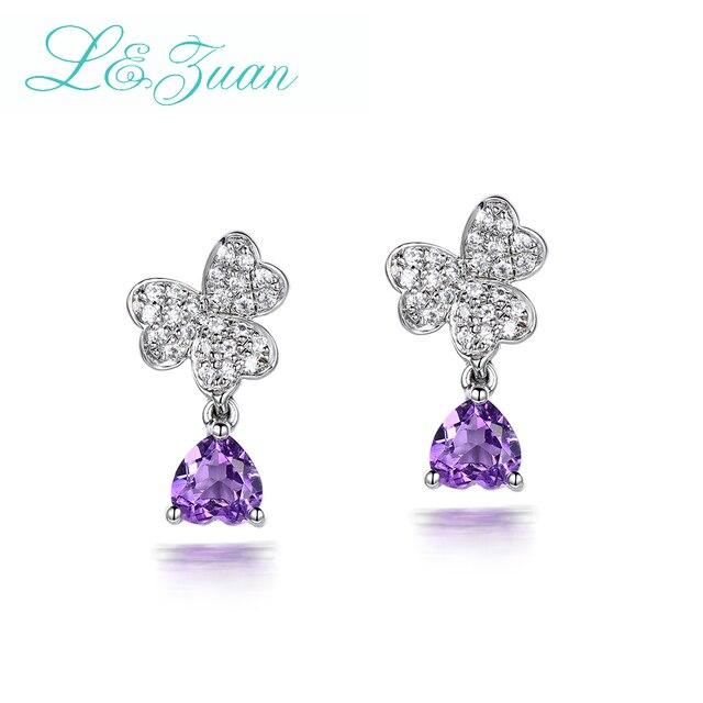 I&Zuan Natural Amethyst Purple Earrings 925 Sterling Silver Heart Shape Elegant Butterfly Stud Earring For Women Fine Jewelry