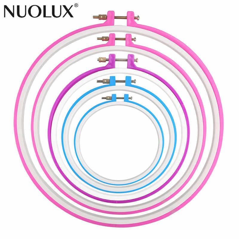 5pcs 12.7cm / 16.5cm / 20cm / 24cm / 27.2cm Tambour Embroidery Circle Cross Stitch Hoop Ring (Random Color)