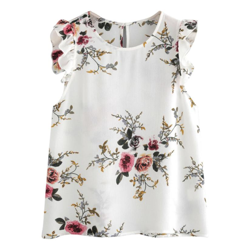 feitong 2018 New Spring Summer Sexy Fashion Women Floral Print Butterfly Sleeve Crop Tops Vest Tank Chiffon T Shirt Clothes