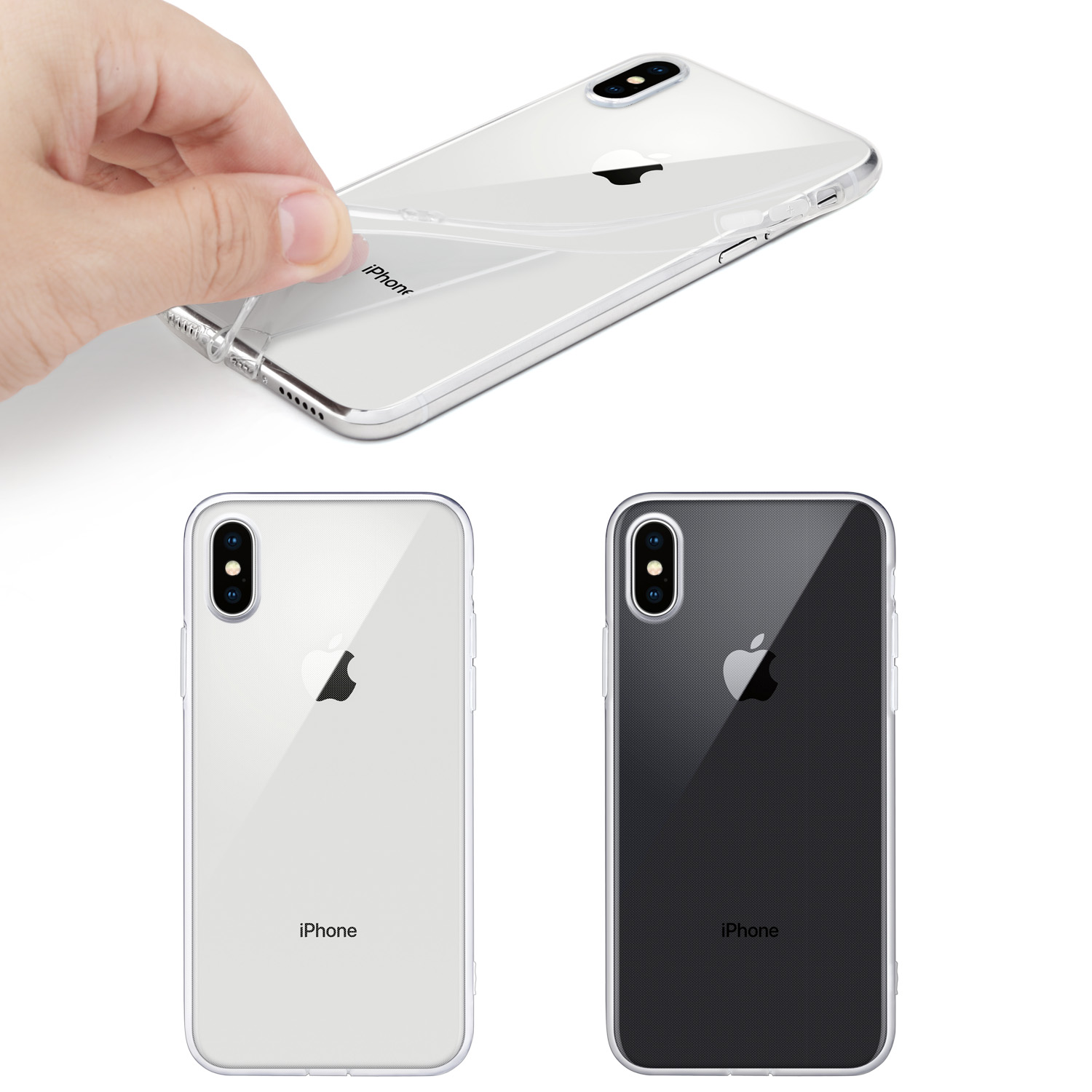 For iPhone X Case WEFOR Slim Clear Soft TPU Cover Support Wireless Charging for Apple 5