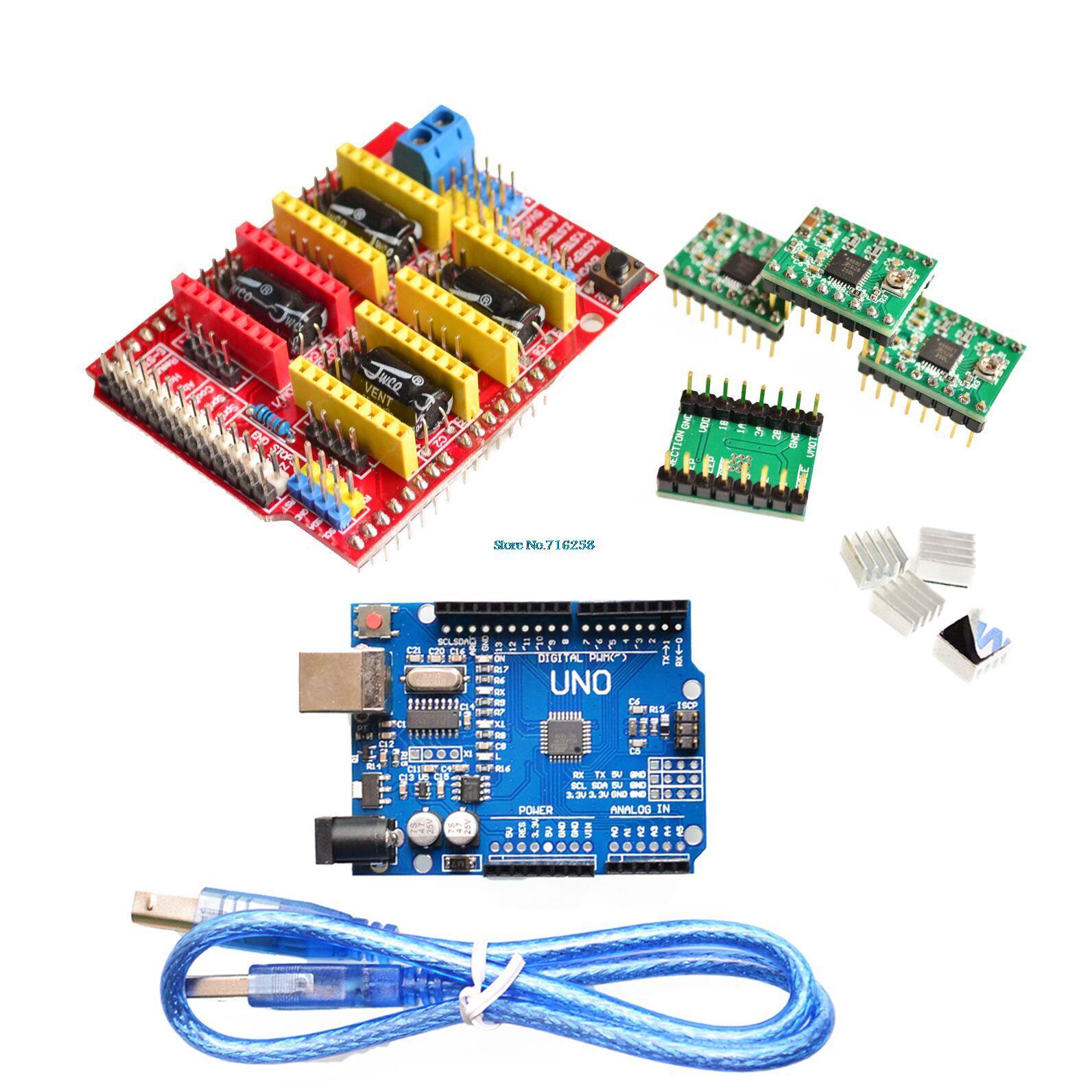 V3.0 Engraver di CNC Scudo + Bordo di Driver Del Motore Passo-passo + A4988 DRV8825 driver di scheda di espansione Per UNO R3 per Arduino