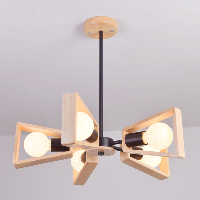 New Modern Wood Pendant Light Nordic Style Suspension Luminaire Hanging Lamp Vintage Rustic Lampshade In Lights From