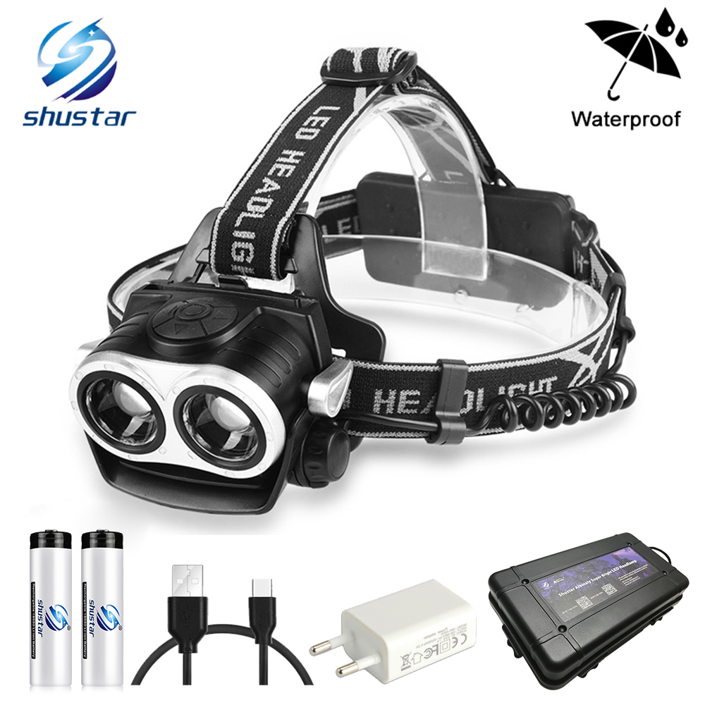 Super bright Led Headlamp 2xT6 LED head Zoomable Headlight Waterproof Head Torch flashlight Head lamp Fishing Hunting Light r3 2led super bright mini headlamp headlight flashlight torch lamp 4 models