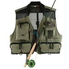 New Multi-pocket Fishing Vest Fishing Suit with Mesh Fly Vest Light-weight Breathable Fly Fishing Tackle Accessories