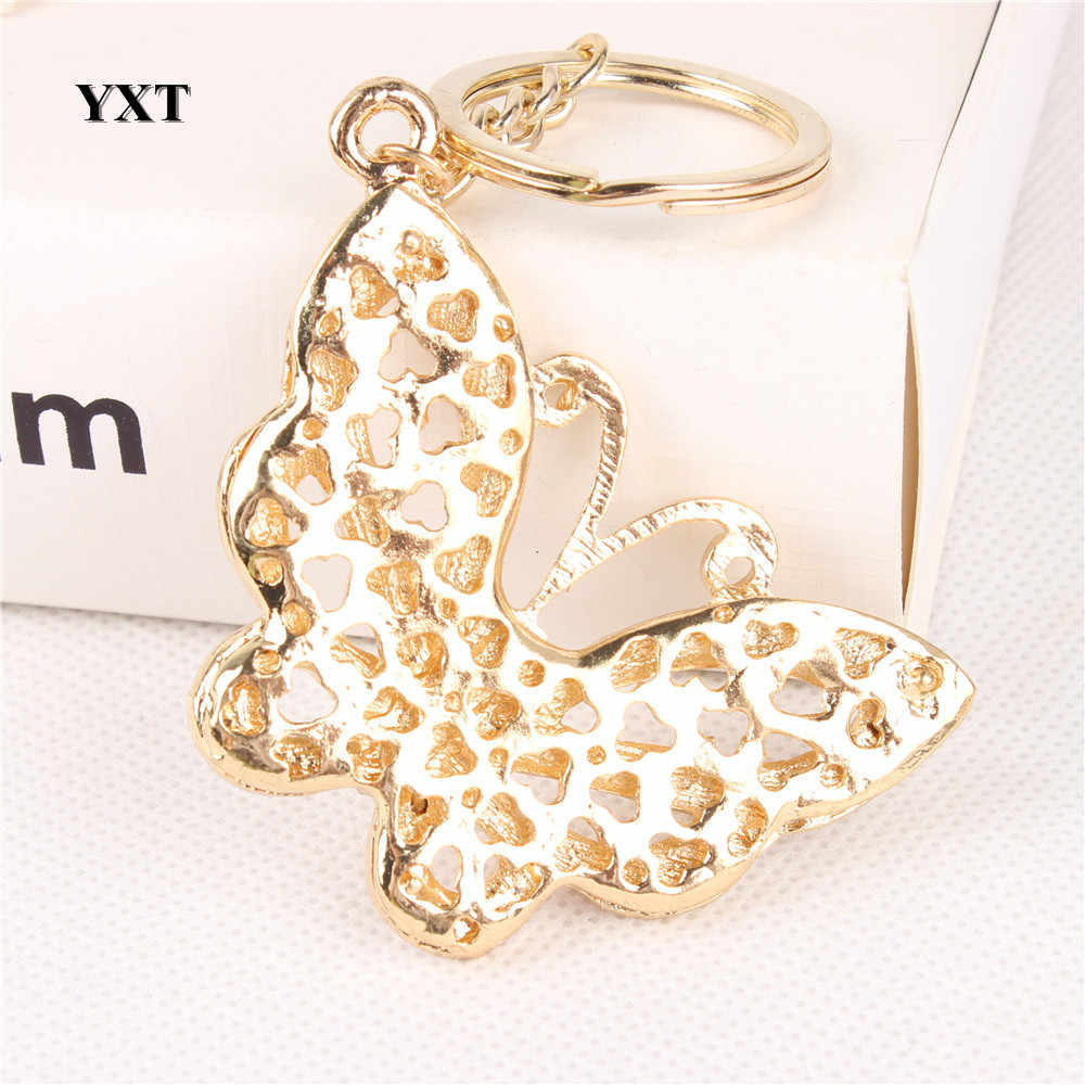 Nova moda borboleta voar adorável cristal charme pingente bolsa carro chaveiro chaveiro festa de aniversário casamento requintado presente