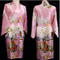 10 Cores de Moda de Nova Rosa Cetim Rayon Roupão de Banho das Mulheres Impresso Vestido de Noite Do Vintage Sleepwear Kimono Vestido Peri Tamanho S-3XL 010728