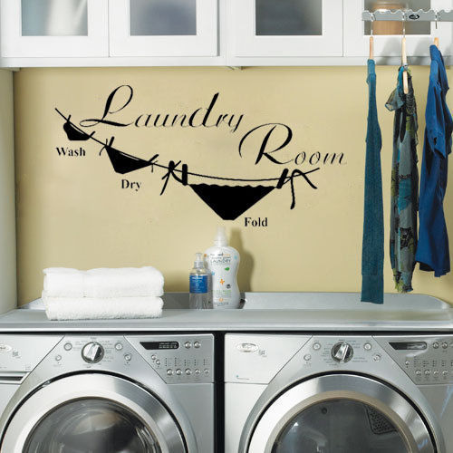 New Fashion Laundry Room Vinyl Wall Decal Laundry Letter Wash Dry ...