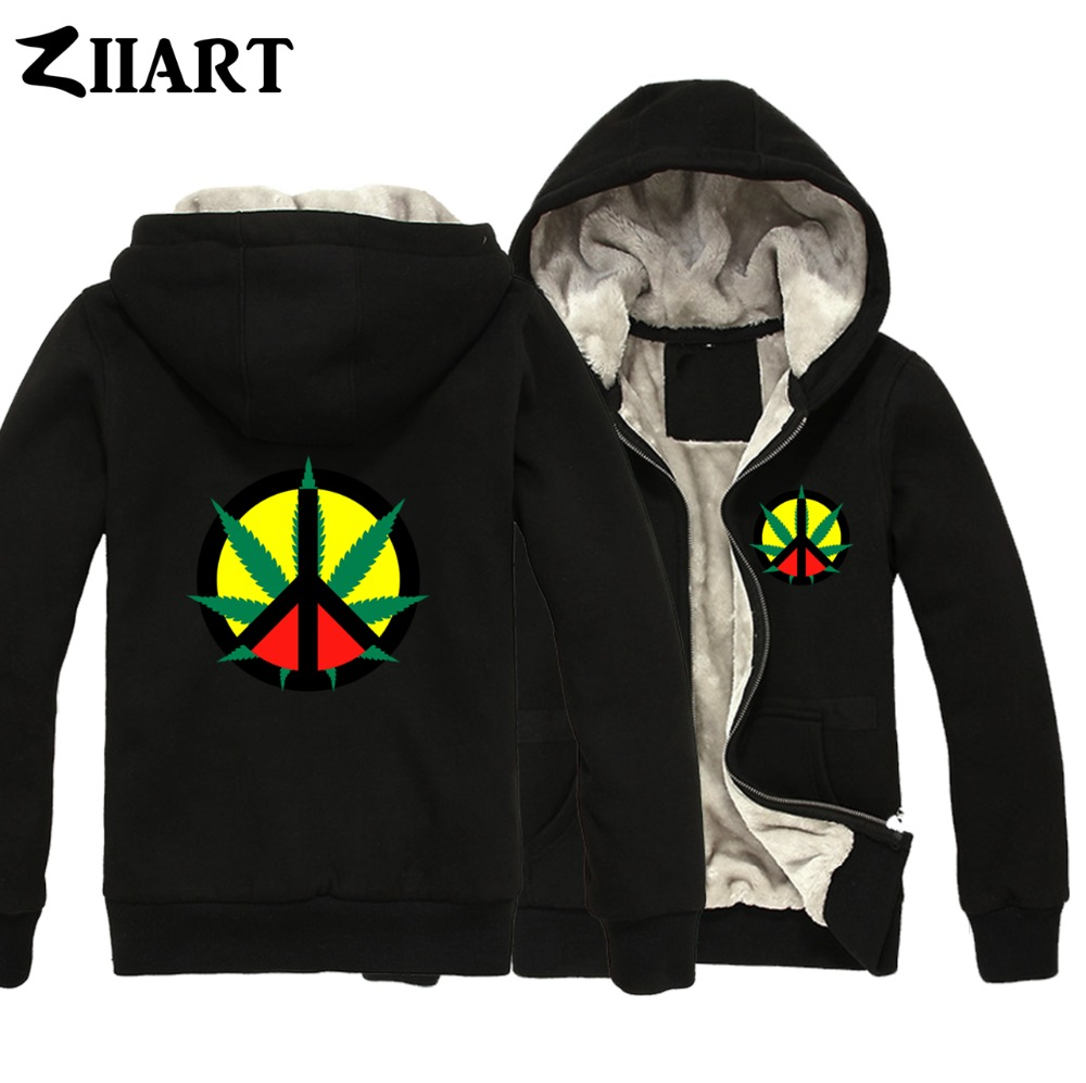 Peace Sign reggae Regge Rasta plant leaf Jamaica red Couple Clothes Boys Man Male Full Zip Winter Plus Velvet   Parkas   ZIIART
