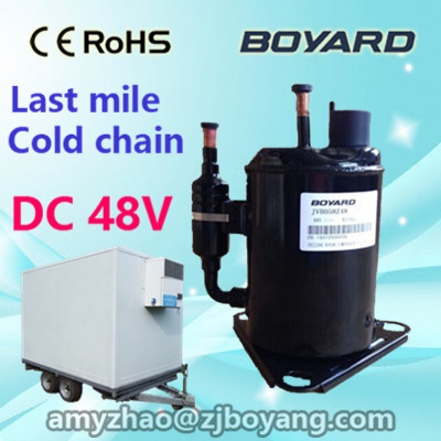 zhejiang boyang r134a brushless chiller 48vdc dc refrigerated compressor for portable mobile dual zone car freezer