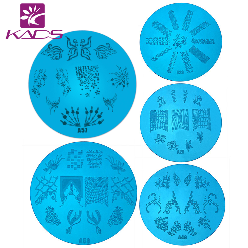Retail Stamp A Series Round Medium Size Nail Stamping Plates Konad Art Manicure Template Tools