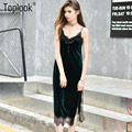 Toplook sexy cami vestidos de terciopelo negro de encaje slip backless side dividir 2016 de terciopelo correa de espagueti partido de noche largo robe dress