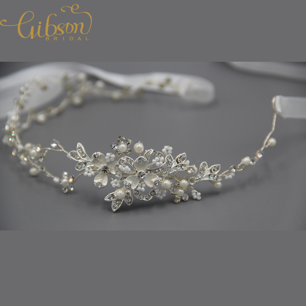 Free Shipping Rhinestone Bridal Headpiece Satin Ribbon Wedding Hair Accessories