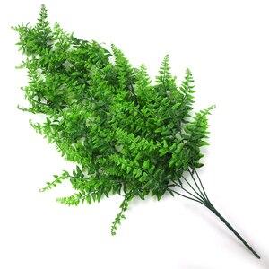 Image 4 - Sztuczne tworzywo sztuczne perskie liście drzewa paprociowego plastikowa zielona imitacja roślin sztuczne liście rattanowe klasyczne dekoracje do domu