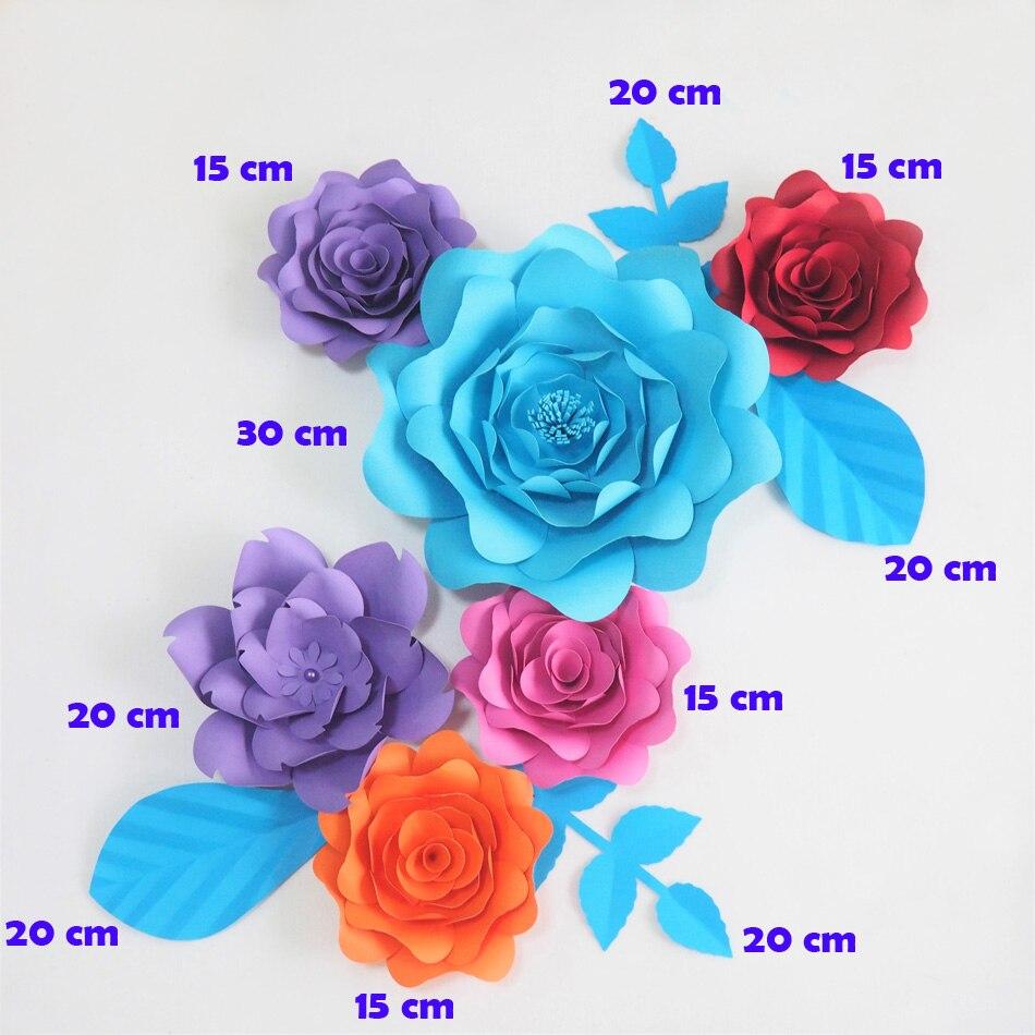 DIY гигантский Бумага цветы Fleurs Artificielles фон искусственные розы 6 шт. + 4 листья Свадебная вечеринка Декор Детская смесь цветов