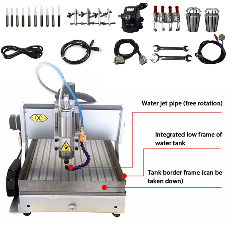 3 Axis USB CNC Cutting Machine 6040 Engraving Area 600x400mm Wood Router Water Tank Drilling Milling Machine