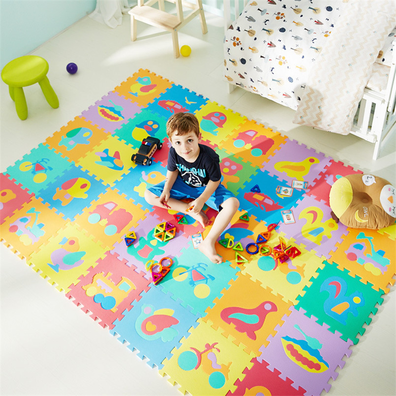 10Pcs/set Cartoon Animal Pattern Baby Play Mat Puzzle Toys For Kids Children EVA Foam Yoga Crawling Mats Floor Tapete 30*30cm