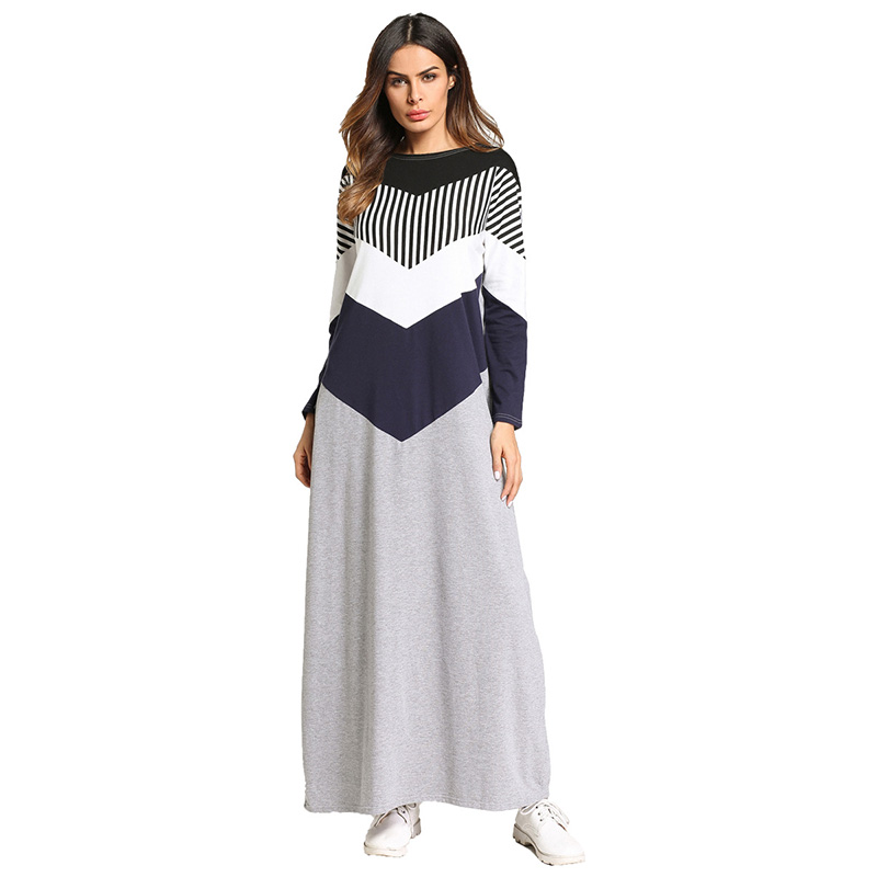 8a7ff69c2821c US $21.82 40% OFF|Casual Maxi Dress Muslim Abaya Kimono Striped Long Robe  Gowns Loose Style Plus Size Jubah Ramadan Middle East Islamic Clothing-in  ...