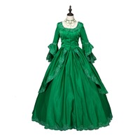 Green Marie Antoinette Colonial Brocade Period Dress Ball Gown Steampunk Clothing Party Costumes Clothings