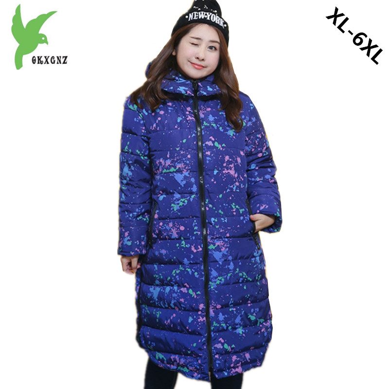 Plus size 6XL Women Winter Cotton Jacket Coat Long Style Hooded Parkas New Print Thick Warm Coats Bust 148CM 140KG Can Wear 1212
