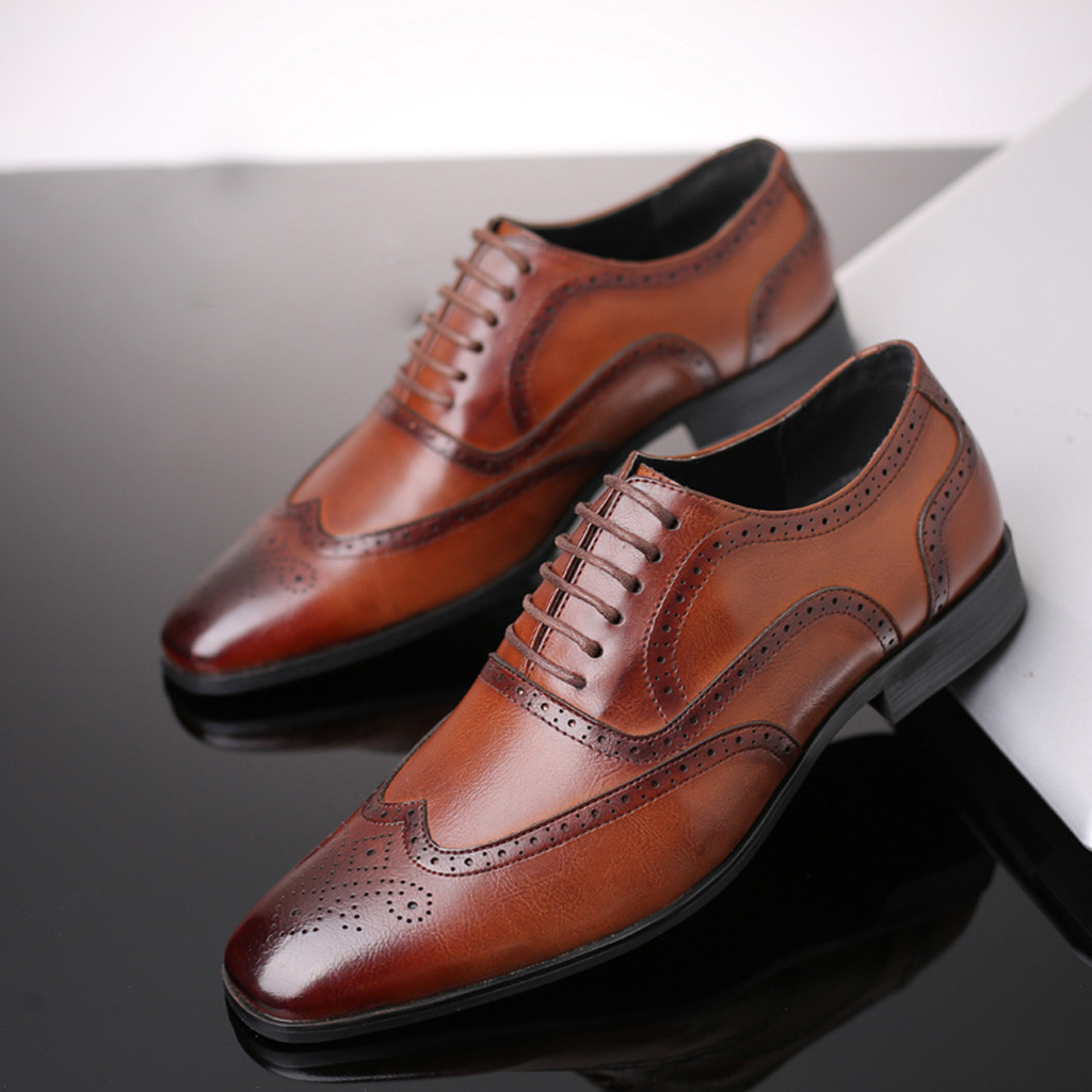38-48 Fashion Leather shoes Men Dress Shoe Pointed Oxfords Shoes For Men Lace Up Designer Luxury Men Formal Shoes 30