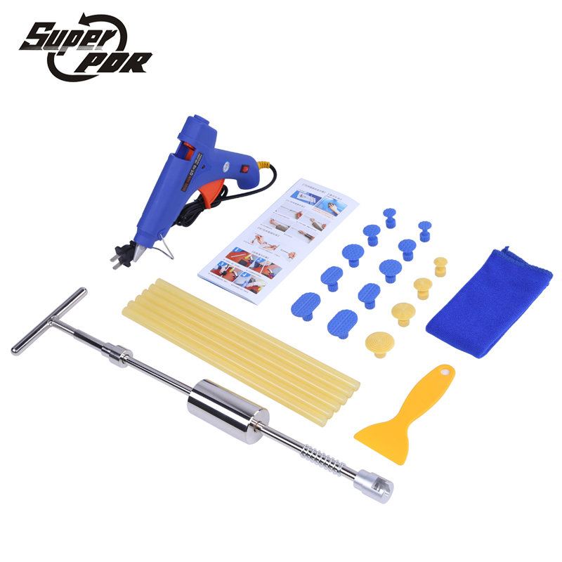 Super PDR Car dent repair tool kit 2 in 1 Slide Hammer 22v glue gun glue sticks dent tabs 24 pcs dent removal hand tools 5 second fix liquid plastic welding kit uv light repair tool glue kit