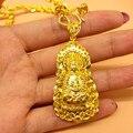 Vintage Oro Amarillo Verdadero de Las Creencias Budistas Buda Colgante y Collar de Cadena Twisted Collar de Hombres Mujeres
