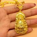 Vintage Real Ouro Amarelo Cromado Crenças Budistas Buda Pingente & Colar Trançado Cadeia Colar Das Mulheres Dos Homens