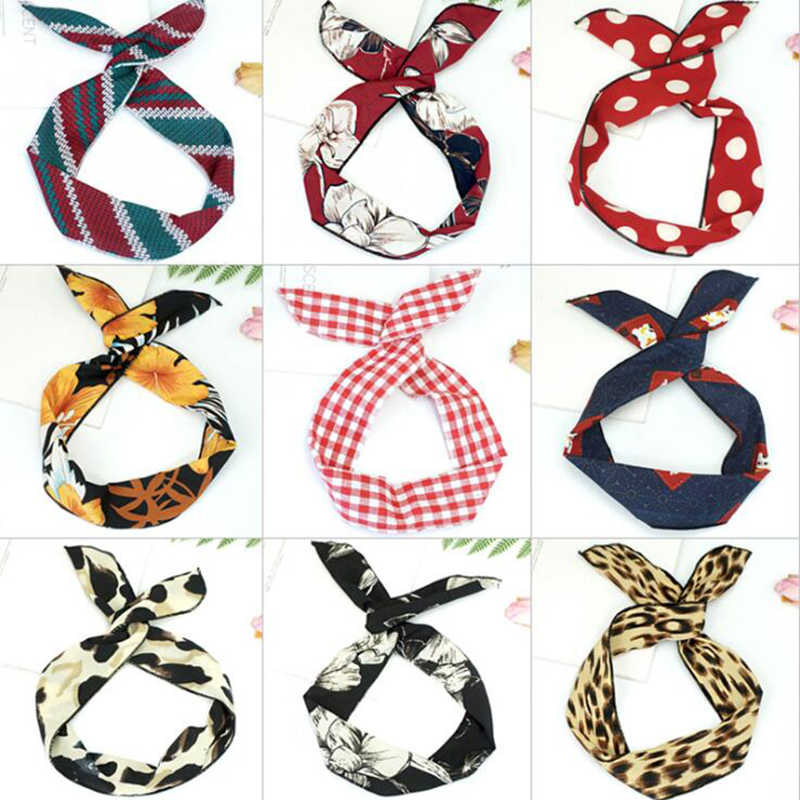 2018 Korean version of rabbit ears knotted wire hair bands Ribbon Hats Metal Wire Scarf Women Headband Girls Hair accessories