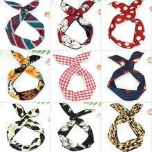 Fio amarrado de orelhas de coelho, 1 peça, versão coreana, faixas de cabelo, chapéus, fita, lenço de metal, feminino, bandana, cabelo acessórios