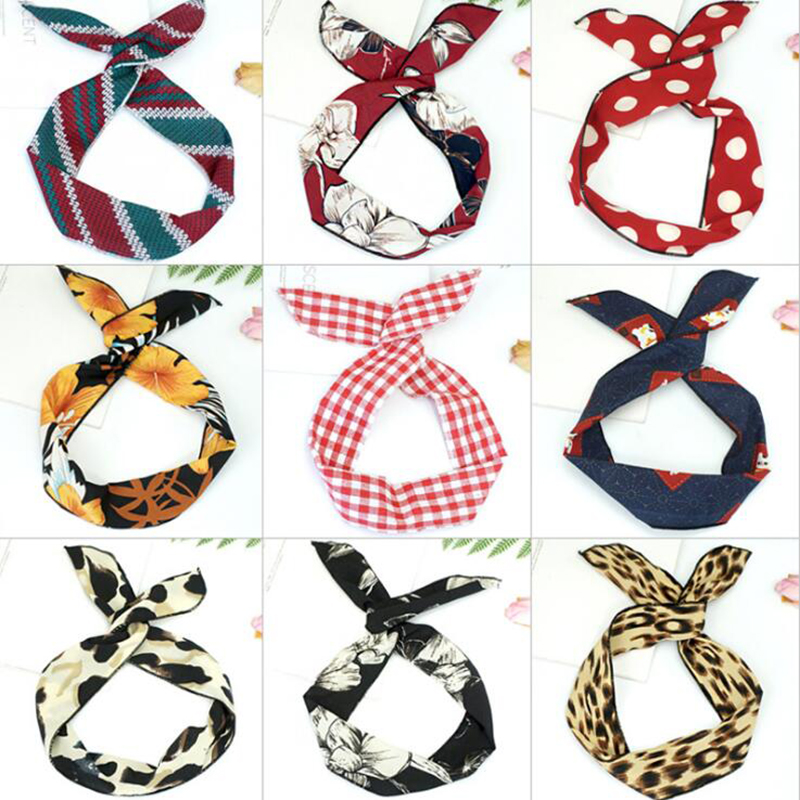 1PC Korean version of rabbit ears knotted wire hair bands Ribbon Hats Metal Wire Scarf Women Headband Girls Hair accessories