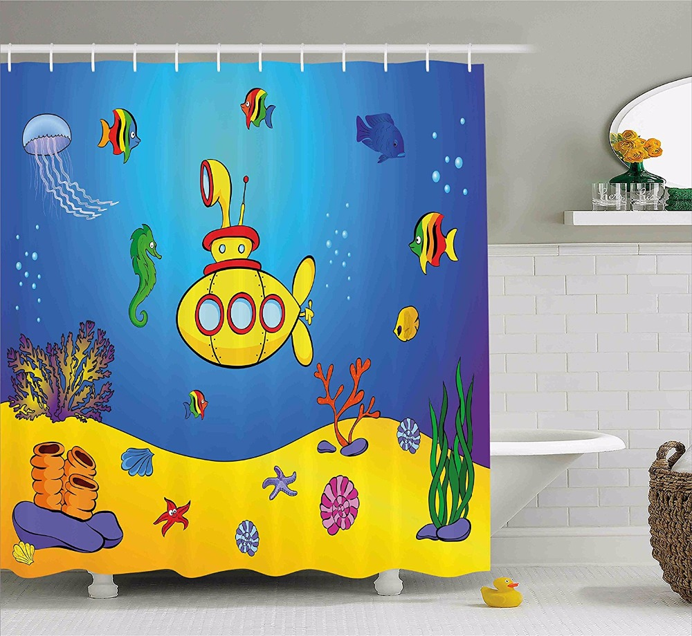 High Quality Arts Shower Curtains Nautical Kids Colorful Fish Underwater Bathroom Decorative Modern Waterproof Shower Curtains