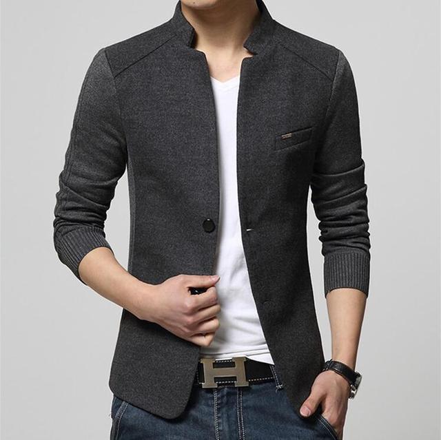 Nueva alta calidad ocasional del remiendo blazer hombres slim fit collar del  soporte para hombre Chaquetas 0eb6bcad714