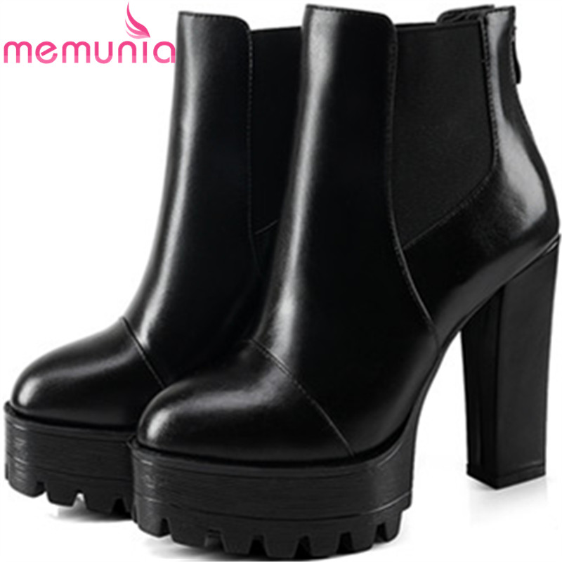 MEMUNIA Big size 34-44 genuine leather boots for women fashion punk ankle boots high heels shoes platform womens boots morazora fashion punk shoes woman tassel flock zipper thin heels shoes ankle boots for women large size boots 34 43