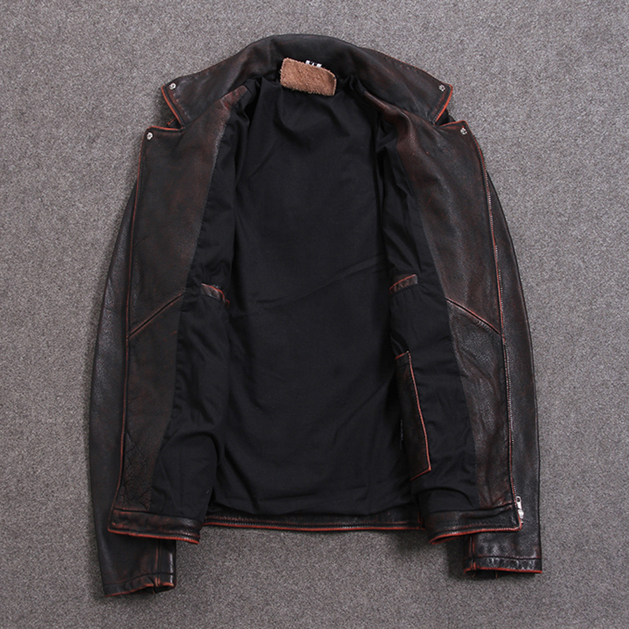 Image 2 - HARLEY DAMSON Vintage Brown Men Slim Fit Biker's Leather Jacket Plus Size XXXXXL Genuine Cowhide Short Motorcycle Leather Coat-in Genuine Leather Coats from Men's Clothing