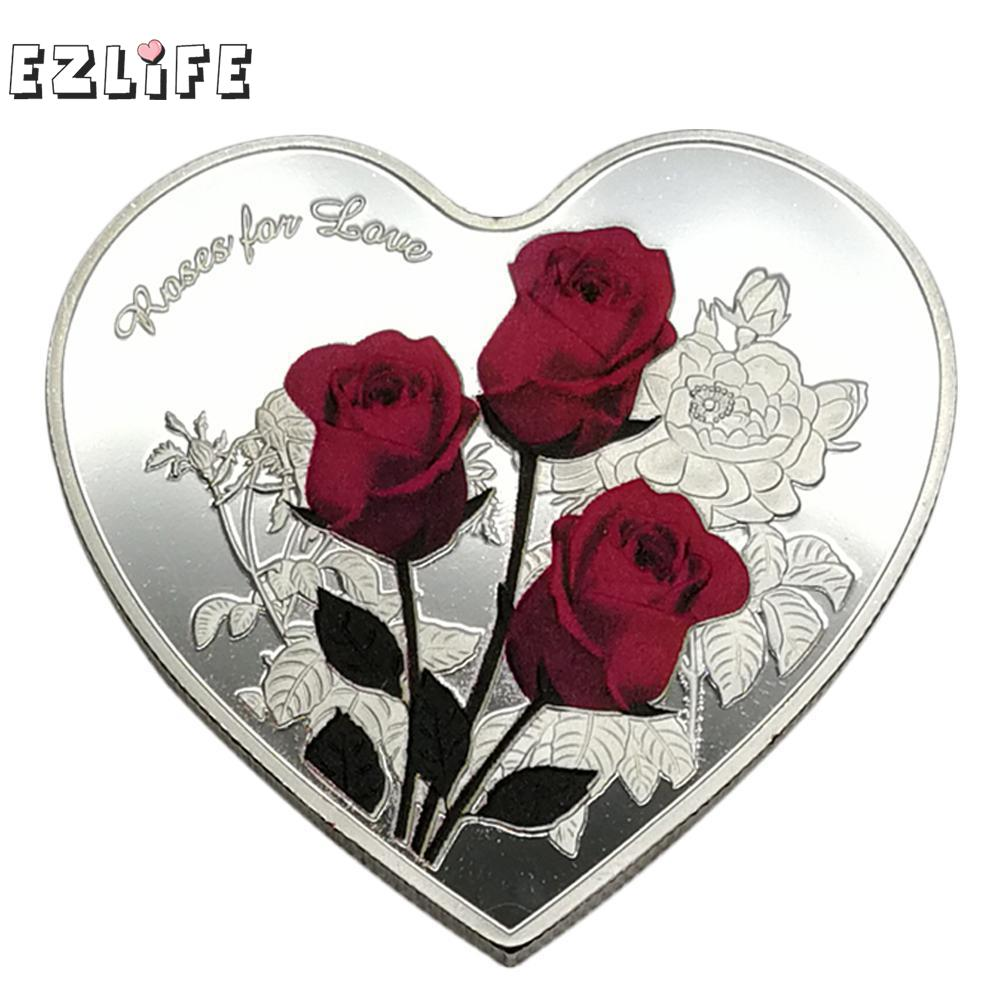 1Pcs 38mm Heart Rose Valentine's Day Commemorative Coin I Love You Emulation Valentine's Day Game Currency