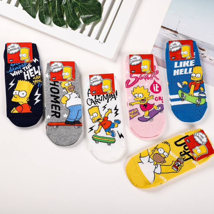 Korea Style Funny Women Casual Socks Cute Happy Cotton Socks Ladies Cartoon Family Novelty Spring Summer Short Ankle Socks