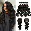 Brazilian Virgin Hair With Closure Body Wave Human Hair Weave Bundles Mink Brazilian Hair Brazilian Body Wave With Lace Closure