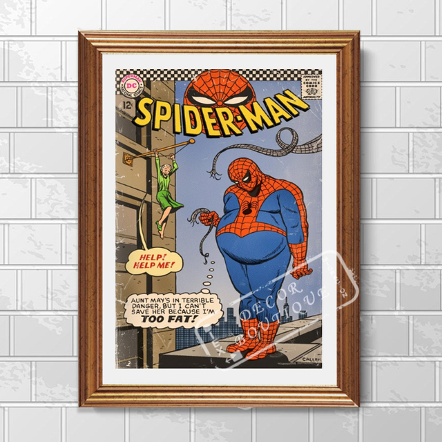 pop lack of exercise fat spiderman vintage retro kraft poster