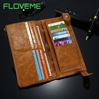 FLOVEME Phone Bag Case For IPhone 7 6 6S Plus 5 Luxury Genuine Leather Card Wallet