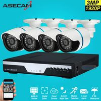 Super 4ch Full HD 1920p Surveillance Kit CCTV DVR Video Recorder AHD Outdoor Metal Bullet 3mp