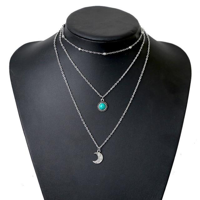 Bohemian jewelry new fashion pop jewelry moon three-layer multi-layer necklace 1