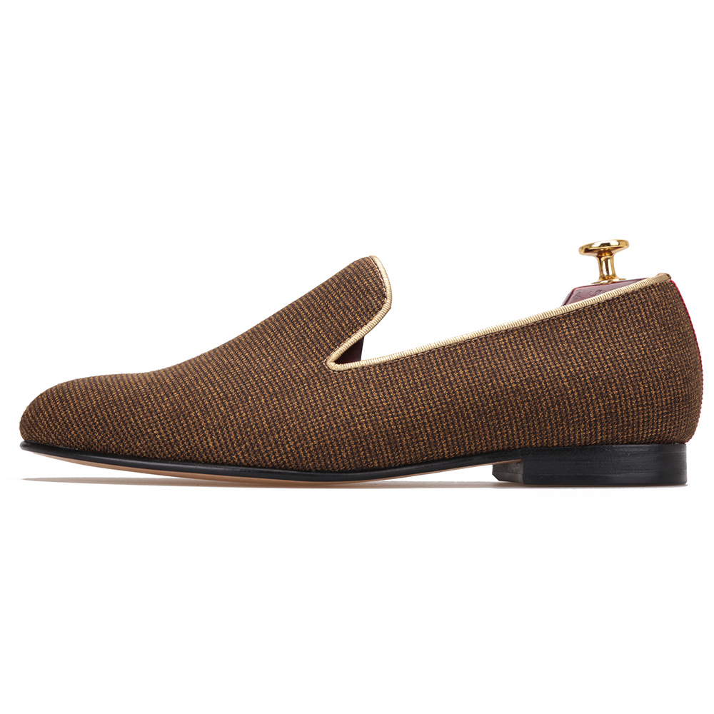 2017 SS New Arrivial HI&HANN Handcrafted Black & Brown Check Canvas Calf Leather Lining & Outsole Mens Loafer Luxury Collection