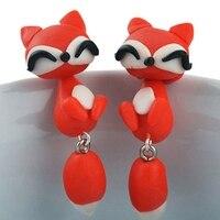 KUNIU lovely cute 100% handmade polymer clay cartoon pierced ear stud earrings for women brincos 3D New Fox