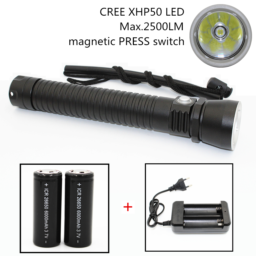 2500LM XHP50 Waterproof Dive Underwater 100M LED Diving Flashlight Aluminum Torch 26650 Lamp Light with Stepless dimming
