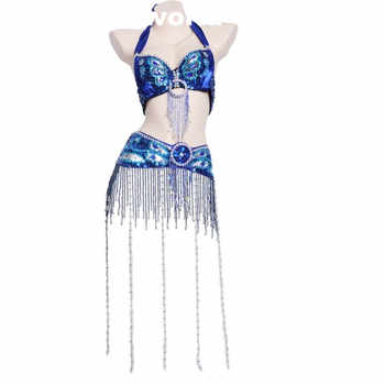 Wholesale 12 Colors Belly Dance Peacock Bra Suit Sexy Tassel Beads Bra And Belt Set For Women Belly Dance Performance Clothes