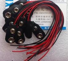 Бесплатная Доставка! 100 шт. 9 В скобу крепления аккумулятора застежка с красными и черными соединительных проводов длина Кабеля 15 см
