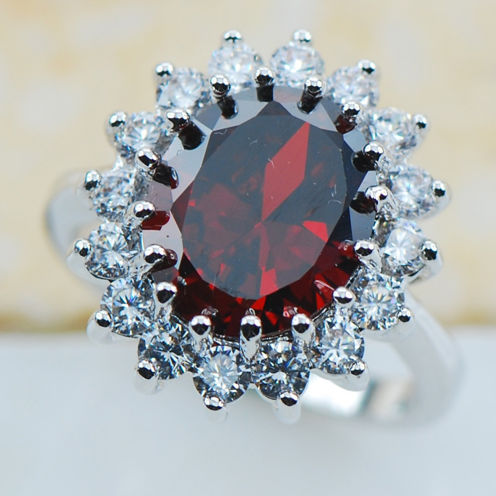 garnet 925 sterling silver top quality fancy jewelry wedding ring size 5 6 7 8 9