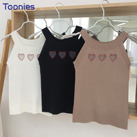 Korean Fashion Style Knitted Sleeveless Crop Top Women Cute Heart Shape Hollow Out Summer Top Stretch