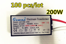 100psc/lot Wholesale sale 200W Electronic Transformer 220V-12V LED Halogen Light Bulb Lamp Power Driver Supply good performance